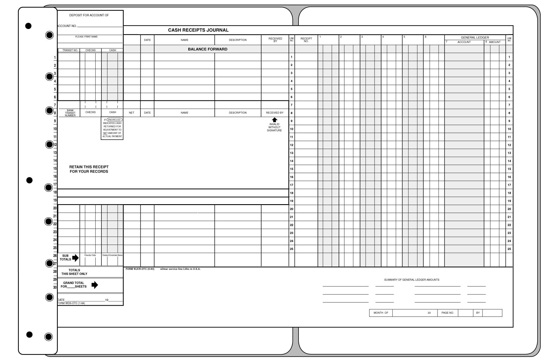 One Write Accounting Systems Safeguard Mcbee Deluxe Custom  Cash Receipt Sample